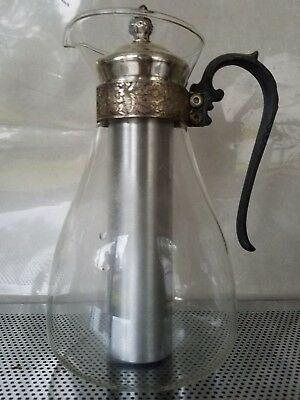 Vintage Sheridan Glass and Silver Plate Pitcher w/ Ice Chiller Chill-It Pitcher