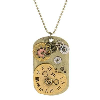 Victorian Steampunk Necklace Watch Parts Gear Tag Charm Vintage Jewelry