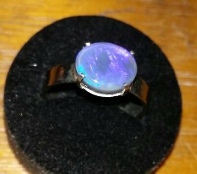 handcrafted black opal ring . Solid opal . Natural