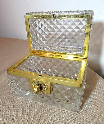 antique 1800's French gilded brass ornate cut crystal dresser casket jewelry box