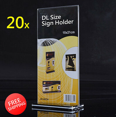 20x DL Size Sign Holder Acrylic Retail Display Stands Menu Restaurant Display