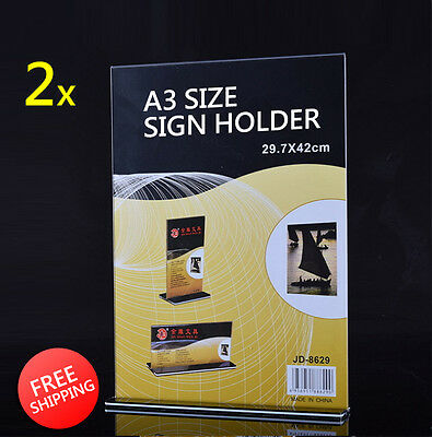 2x A3 Size Sign Holder Acrylic Retail Display Stands Menu Restaurant Display