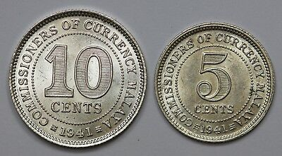 Malaya 1941 Silver 5 & 10 cents, Both Lustrous Choice Uncirculated