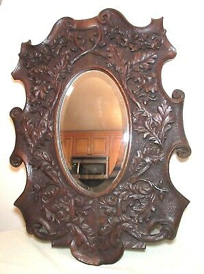 LARGE antique 1800's hand carved German black forrest wood ornate wall mirror