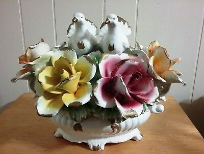 Capodimonte  Vintage Large Centerpiece  Roses &  A Pair Of Doves Made In Italy