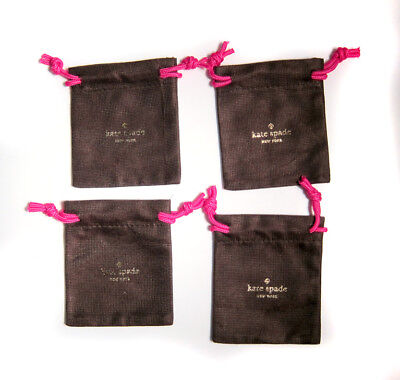 "Lot of 4 KATE SPADE Small Brown Jewelry Pouch for Earrings/Ring 4""x4"""
