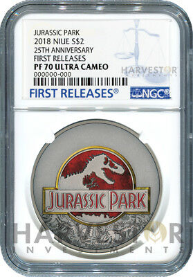 2018 Jurassic Park 25Th Anniversary - Ngc Pf70 First Releases - With Ogp & Coa