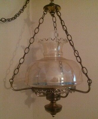 Vtg. Solid Brass Hanging Parlor Lamp W/cut Crystal Shade, Vgc**offers Accepted**