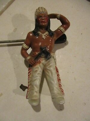 Hubley Indian Brave Cast Iron Bank In Very Good Condition