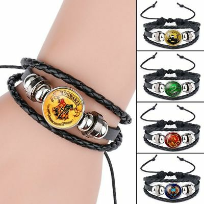 Retro Harry Potter Woven Bracelet Griffindor Slytherin Ravencla Badge Wrist Band