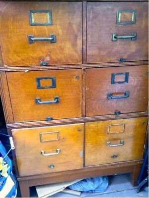 Antique File Cabinet - 6 drawers / 3 flat pairs stack - Golden Oak