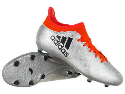 new arrival cb265 9188c adidas Kids X 16.3 Firm Ground Boots Juniors Football Moulded Studs Silver