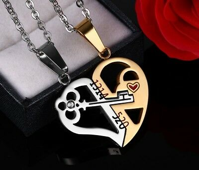 393e87b199 18k Gold Plated Split Heart Necklace for Couples Pendant Love 19
