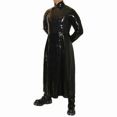 Latex Heavy Rubber Gummi Matrix Männer Herren Mantel coat lange Ärmel Knöpfe