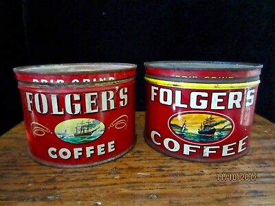 2 Red Vintage Folger's 1 lb Coffee Tins Tin ~ Sailing Ship & Steam Ship 1931