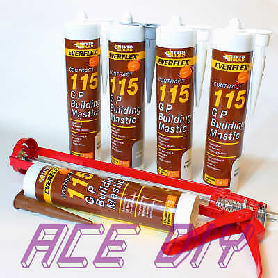 Everbuild 115 GP Building Mastic C3 285ml Waterproof Sealant Mastik with Gun
