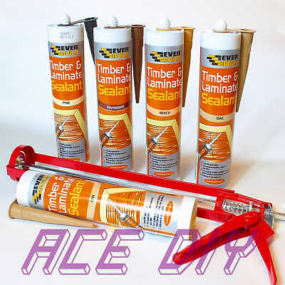 Everbuild Timber & Laminate Wood Sealant Flexible Gap Filler 290 ml C3 with Gun