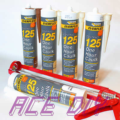 Everbuild 125 One Hour Caulk C3 | Fast Drying Flexible Sealant Filler with Gun