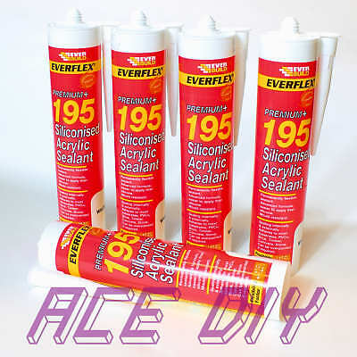 Everbuild Premium 195 Siliconised Acrylic Flexible Sealant C3 300 ml White Glue