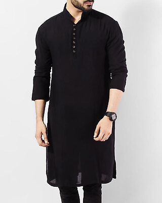 Indian 100% Cotton Men Kurta Shirt T-Shirt Black Tunic Top Solid Color All Size