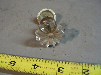 Vintage knob glass brass flower Clear Glass Cabinet Knob Drawer Pull