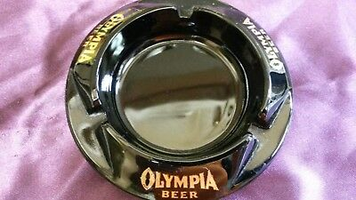 Olympia Beer Black Gold Glass Bar Ashtray 4.5""