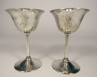 Vintage APOLLO New York Arts & Crafts Hammered Silverplate Cocktail Glass PAIR