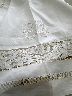 Antique Linens-Ornate English, Irish Linen Sheet W/applique And Embroidery