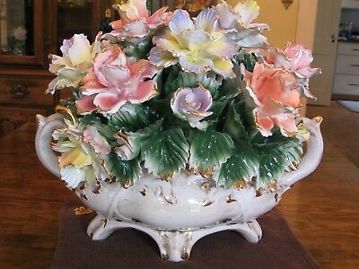 Capodimonte Gold Tipped Floral CenterPiece