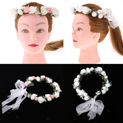 Women Bridal Boho Flower Crown Hair Garland Headband Floral Wreath Headpieces