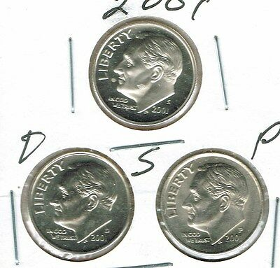 2001 Three Uncirculated Dime Types The San Francisco is From a Proof Set!