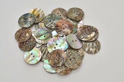 20 Pcs Round Abalone Shell Sewing Two Holes Buttons 25Mm #2290