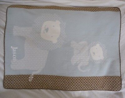 """Pottery Barn Kids Lion and Cub Blanket 30 X 40"""" Blue Brown """"Jason"""" NWOT"""