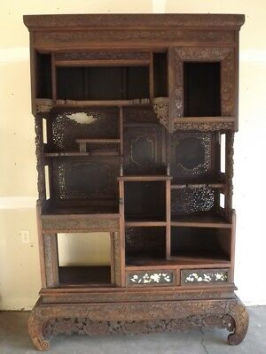 "Gorgeous Antique Chinese Hand Carved Hardwood Dispaly Cabniet 90"", 19th C"
