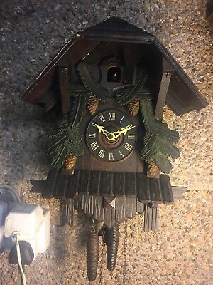 """Beautiful German 2 Weight Driven Movement Carved Wood Case Cuckoo Clock GWO 15""""L"""