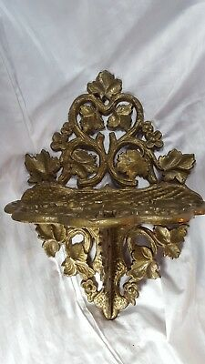 "Antique Cast Iron Ivy Filigree Wall Shelf 14"" Victorian Floral Vine Scroll"