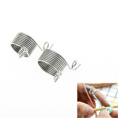 2 Size Ring Knitting Tools Finger Wear Thimble Yarn Spring Guides Needle FO