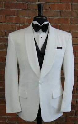 Mens 42 L Classic White Shawl Self Lapel One Button Tuxedo Dinner Jacket