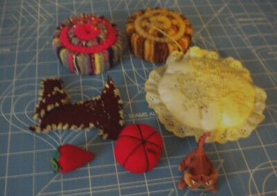 6 assorted vintage sewing pin cushions wool lace tomato hand made