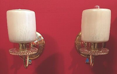 2 Beautiful Brass Sconces Vintage Antique Wired Pair Slip Shades Globes 4E