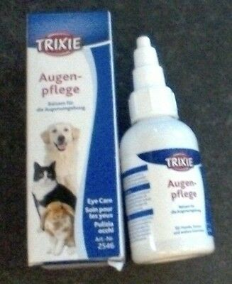 NEW 2546 Trixie Pet Eye Care Drops 50ml - Dog Cat Rabbit - tear stain remover
