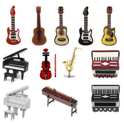Dolls House Miniature Guitar Piano Musical Instrument 1:12 Dollhouse Furniture
