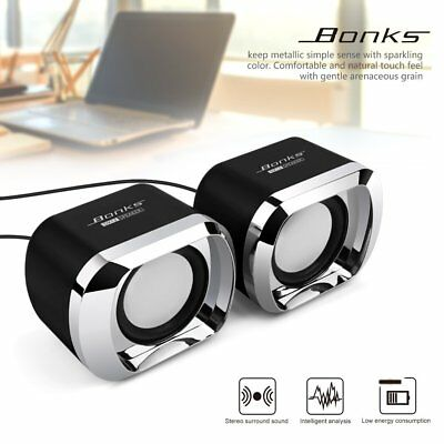 USB Computer Speakers PC Desktop Laptop Stereo w/ AUX Jack for TV MP3 iPod Phone
