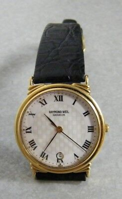 RAYMOND WEIL Geneve MENS WATCH with DATE #5531 VG! NEW BATTERY NEW CRYSTAL