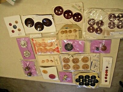 17 Cards of Old Antique Vintage Buttons: Alum, Brass, Bakelite, Glass, Wood