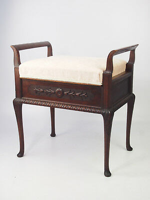 Antique Edwardian Mahogany Piano Stool - Music Seat Bench Dressing Table Chair