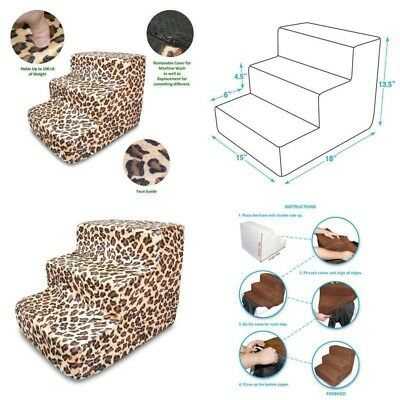 Pet Supplies Dog 3 Step Foam Stairs Suede Cover Home Cover Only Anti-Slip New