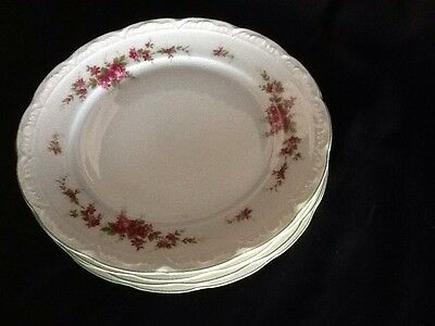 MITTERTEICH BAVARIA CHINA 4 SALAD PLATES BRIGHT PINK FLORAL Green TRim GERMANY