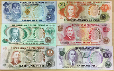 """Philippines Complete """"ang Bagung Lipunaw"""" Set 2-5-10-20-50-100 Piso, Avg Vf +"""
