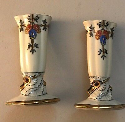 PAIR ANTIQUE NORITAKE MORIMURA HAND PAINTED ART DECO VASES Rams Head Signed